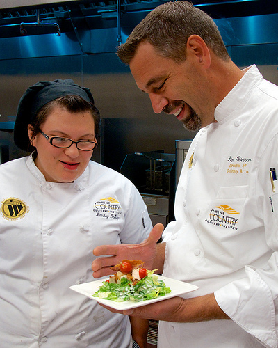 Culinary instructor and student